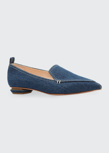 Beya Denim Pointed Loafers
