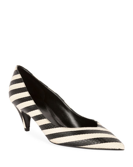 Image 1 of 1: Charlotte Snakeskin Pointed Pumps