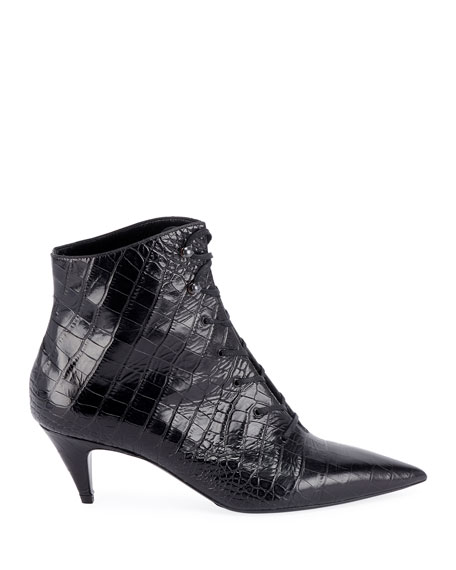 Charlotte Crocodile-Embossed Booties