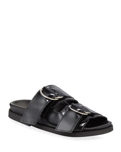 Leather Flat Two-Band Sandals
