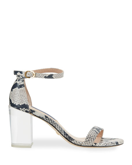 Nearlynude Clear-Heel Snake-Print Sandals