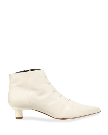 Asher Kitten-Heel Leather Ankle Booties, White