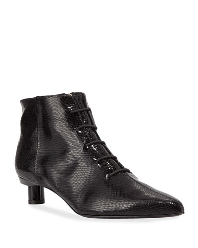 Joe Snake-Embossed Ankle Booties  Black