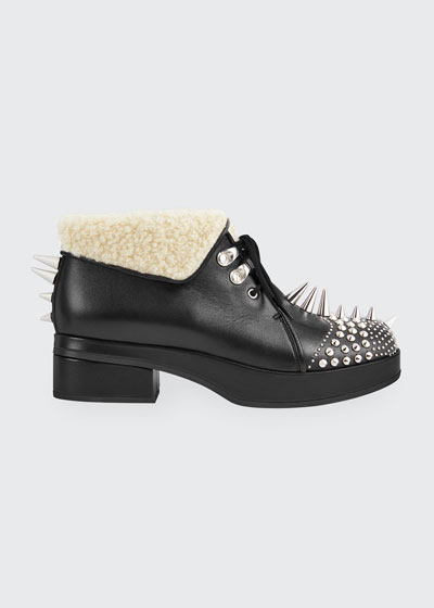 Leather Booties With Spikes And Studs