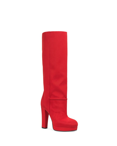 Ribbed Fabric Platform Boots