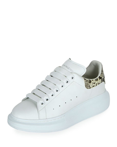 Image 1 of 1: Leather Lace-Up Platform Sneakers