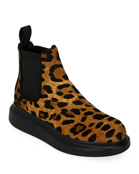 Leopard Calf Hair Ankle Booties