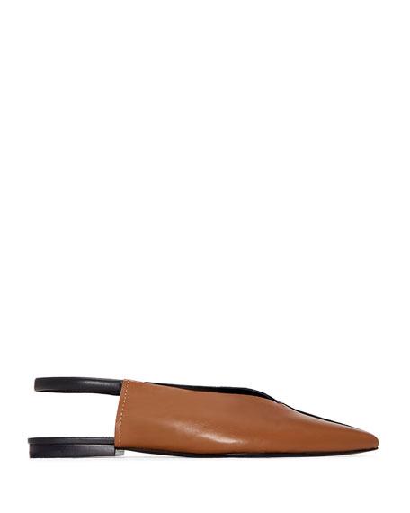 Evetta Silk & Leather Slingback Flats