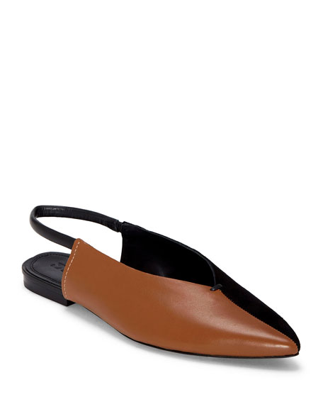 Image 1 of 1: Evetta Silk & Leather Slingback Flats