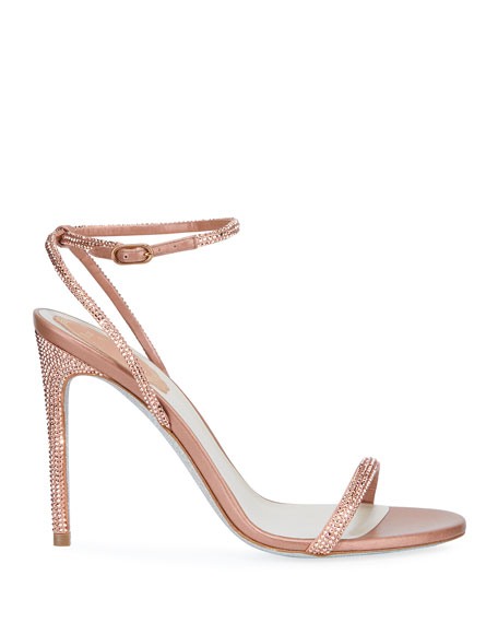 Ellabrita Crystal Satin Ankle-Strap Sandals