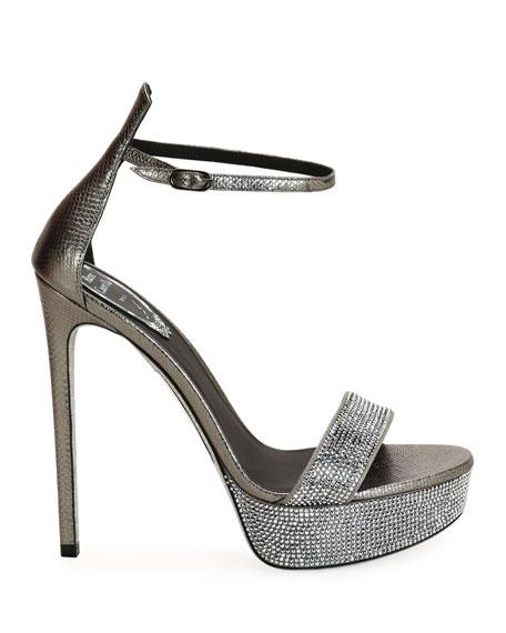 Snakeskin Crystal Platform Sandals