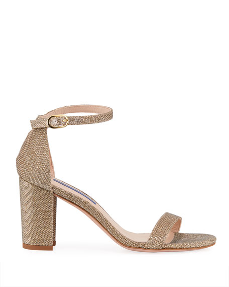 Nearlynude Glittered Block-Heel Sandals