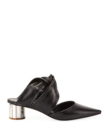 Silver Metal Heel Leather Mules