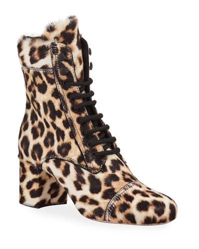 Lace-Up Calf Hair Cheetah Booties