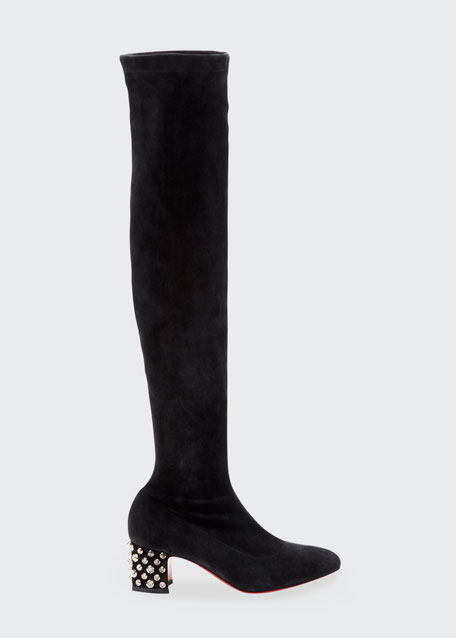 Study Red Sole Boots with Embellished Heel