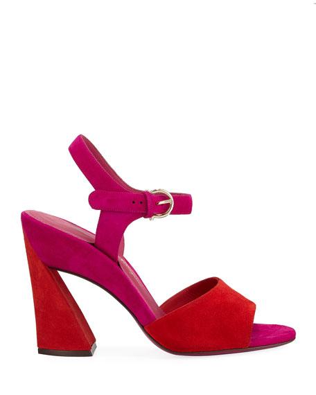 Aede Suede Flare-Heel Sandals