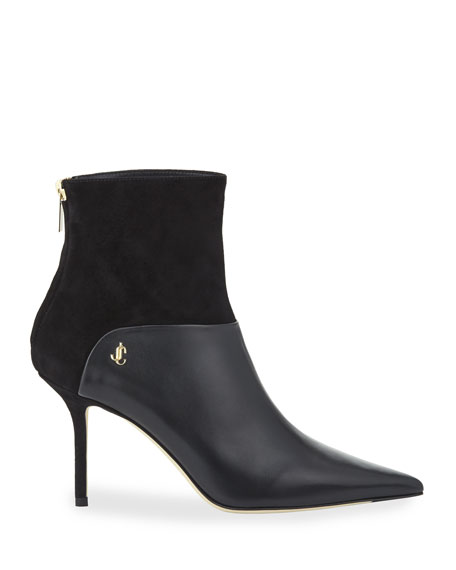 Beyla Mixed Leather and Suede Booties