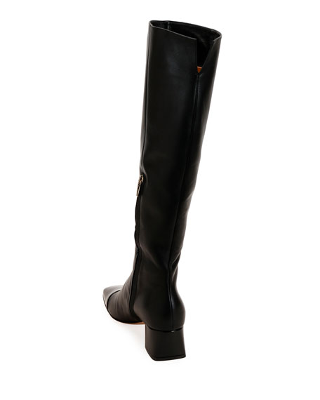Tall Leather Cap-Toe Knee Boots