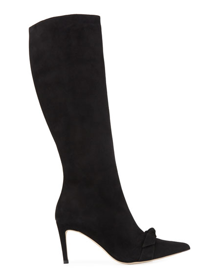 Lydia Bow Suede Knee Boots