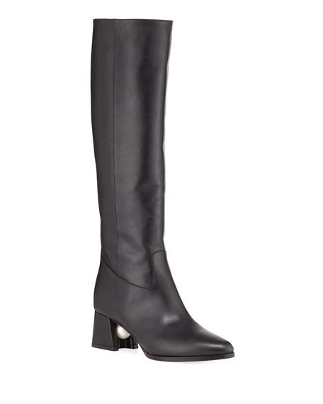 Miri Calf Leather Knee Boots