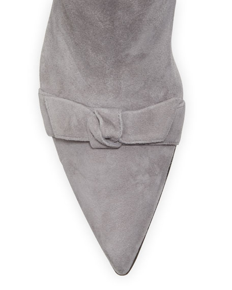 Lydia Bow-Top Suede Knee Boots