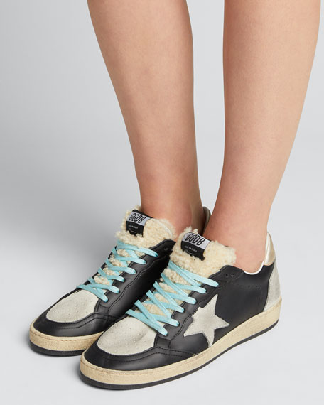 Mixed Leather Sneakers with Shearling Trim