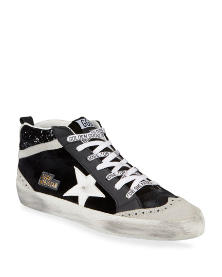 Leather and Glitter Mid Star Sneakers