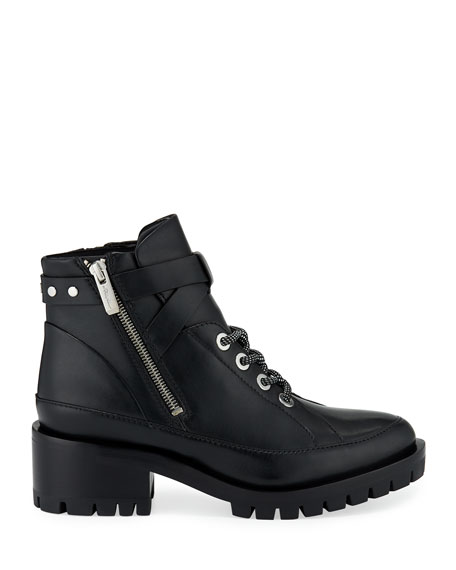 Hayett Leather Lace-Up Booties