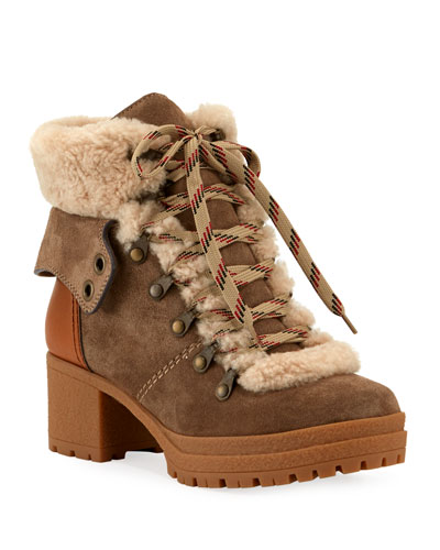 Fur-Lined Lace-Up Chunky Boots