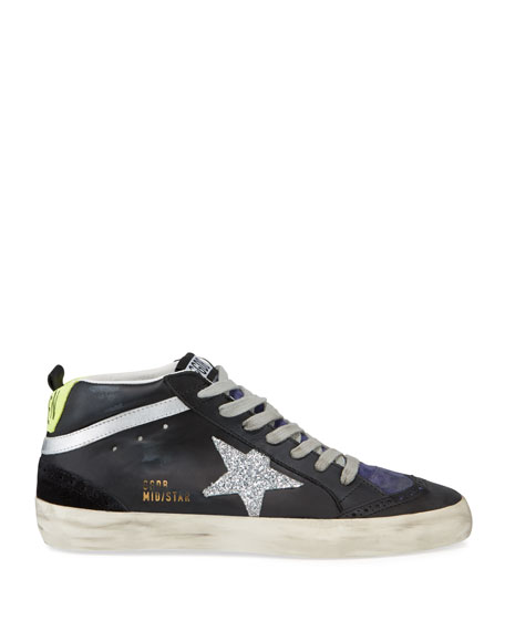 Leather Mid-Star Lace-Up Sneakers