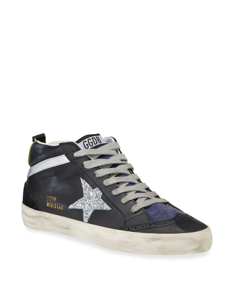 Image 1 of 1: Leather Mid-Star Lace-Up Sneakers