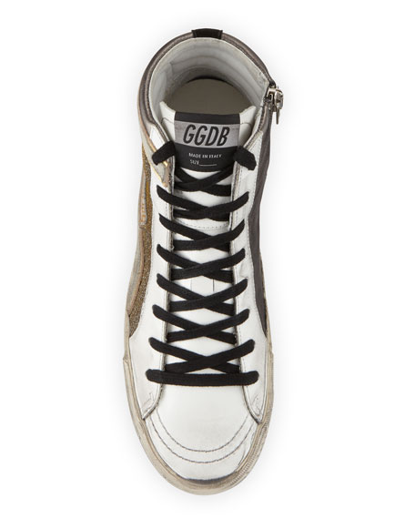 Metallic Slide High-Top Sneakers