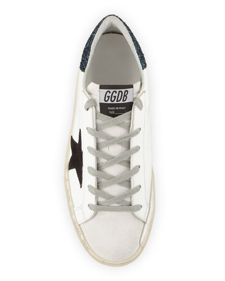 Hi Star Leather Sneakers with Glitter Back