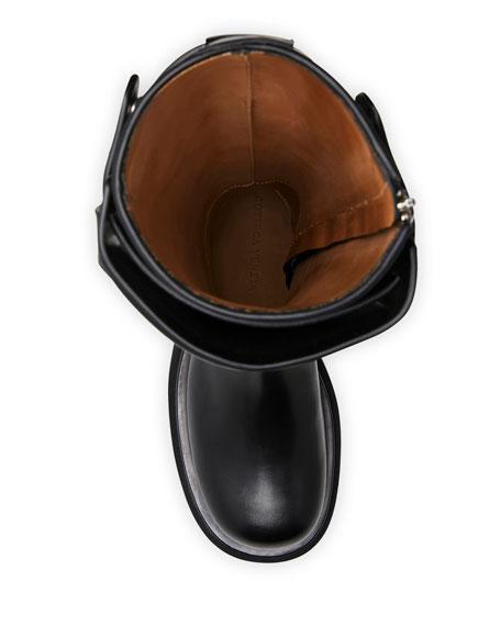 Flat Tall-Shaft Combat Knee Boots
