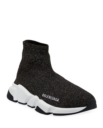 Metallic Knit High-Top Sock Sneakers