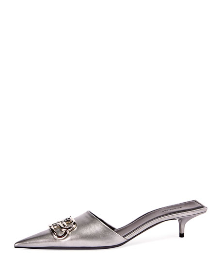 Square Knife BB Mules, Gray