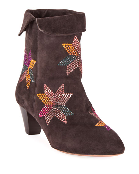 Dyna Embroidered Suede Ankle Boots