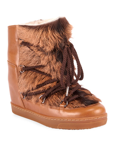 Image 1 of 1: Nowles Shearling-Lined Lace-Up Booties