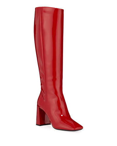 Square-Toe Patent Tall Boots