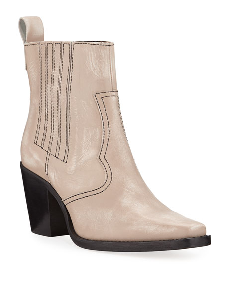 Leather Western Pull-On Booties