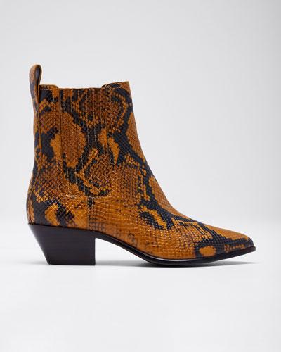 Aylin Snake-Embossed Leather Western Booties
