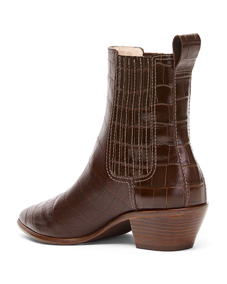 Aylin Croc-Embossed Leather 45mm Western Booties