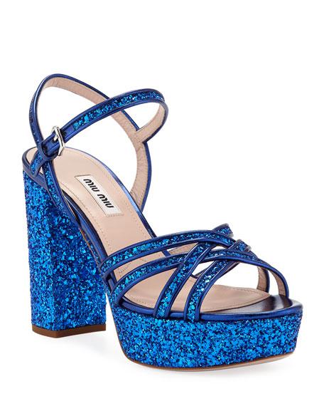 Glitter Strappy Platform Sandals