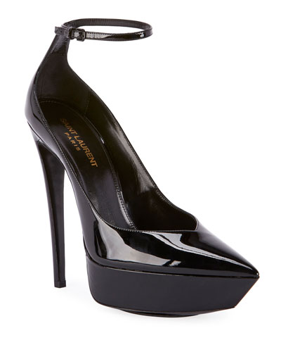 Betty Patent Ankle-Strap Pumps