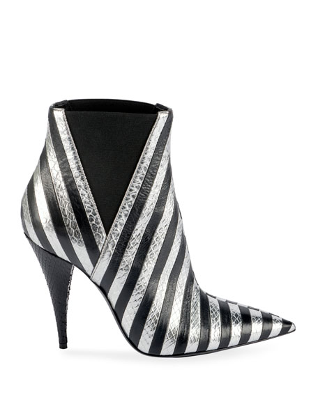 Kiki Contrast Striped Leather Booties
