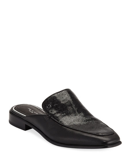 Aslen Mixed Leather Loafer Mules
