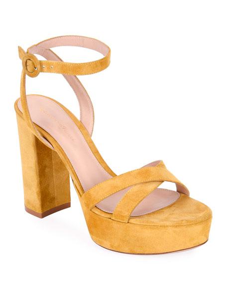 Strappy Suede Platform Sandals