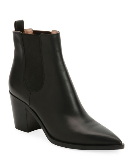 Image 1 of 1: Leather Western Chelsea Booties