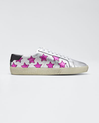 Metallic Leather Classic Star-Print Sneakers