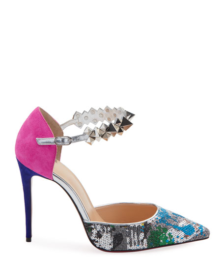 Planet Chic Embellished Red Sole Pumps